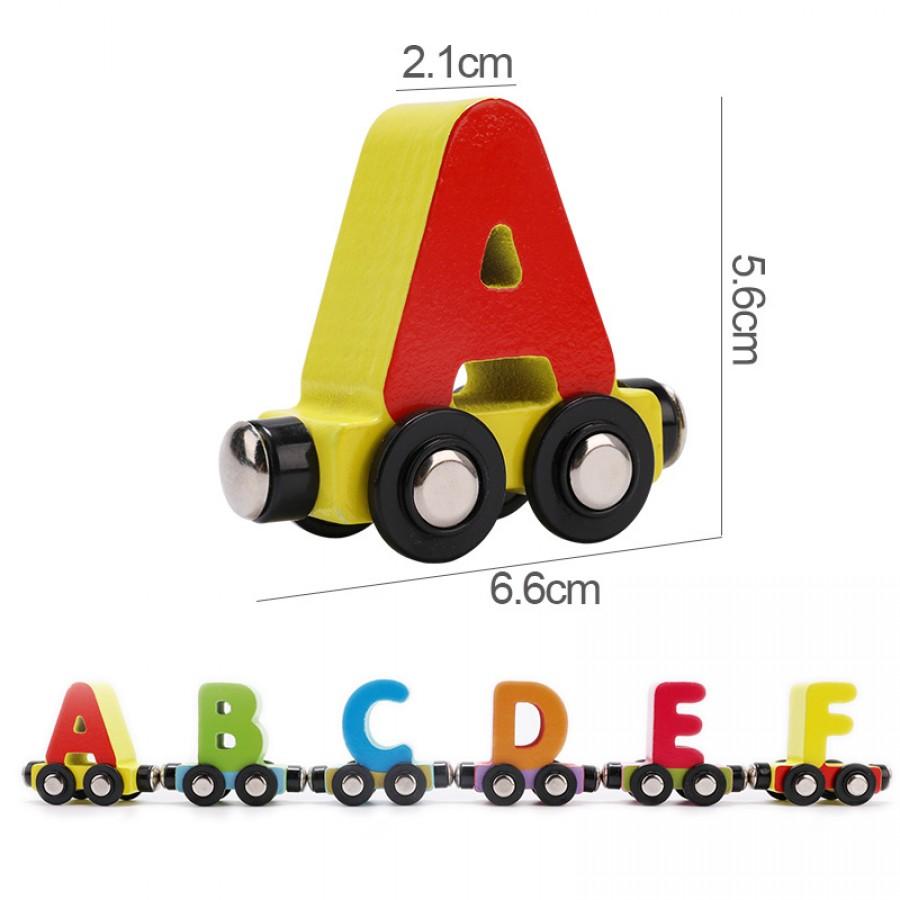 Ξύλινο μαγνητικό τρενάκι με γράμματα
