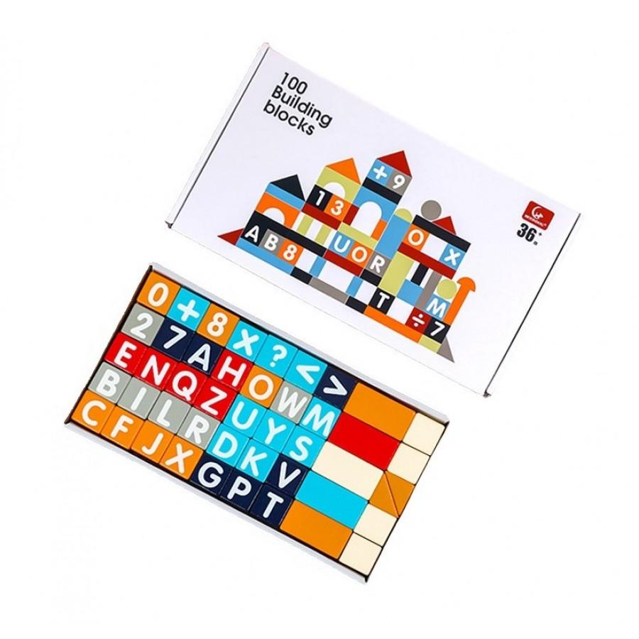 Ξύλινα τουβλάκια γράμματα και αριθμοί 100τμχ για παιδιά 3+ ετών