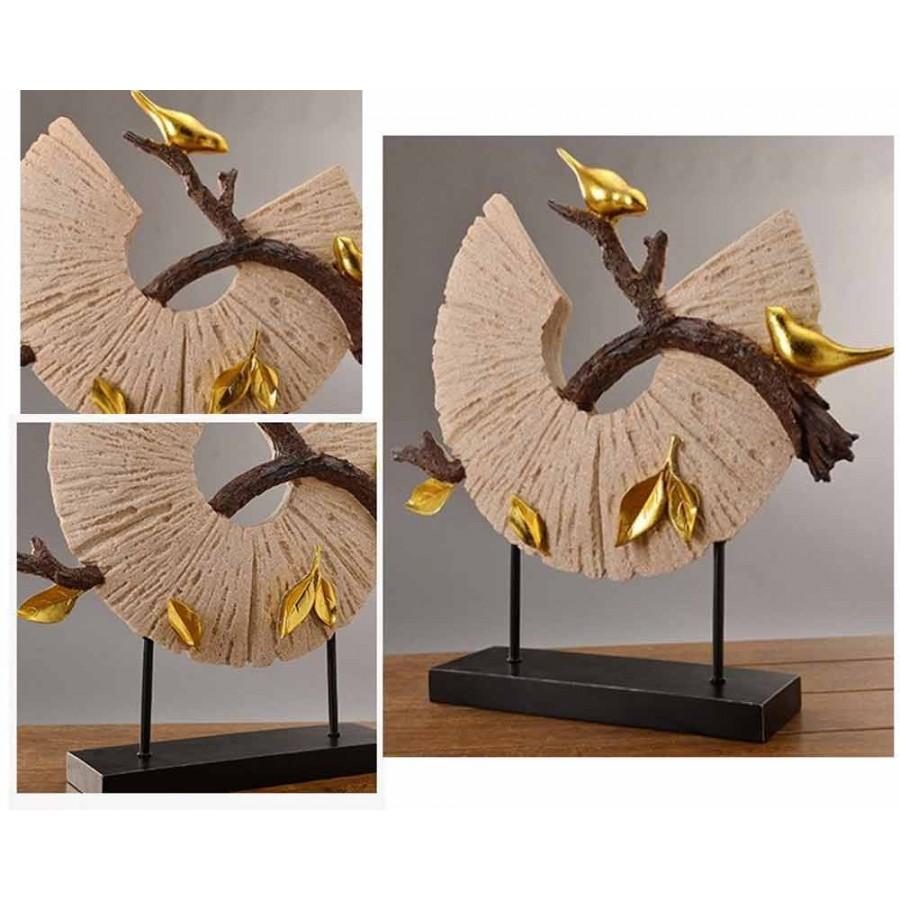 Στρογγυλό Διακοσμητικό με χρυσά πουλιά