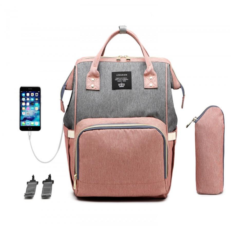 Τσάντα πλάτης μωρού ροζ-γκρι με usb Lequeen