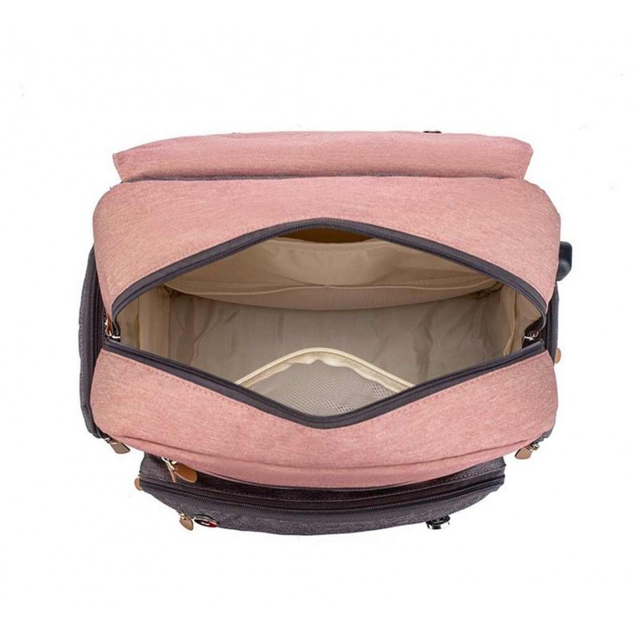 Τσάντα πλάτης μωρού LEQUEEN ροζ-γκρι με δερμάτινες λεπτομέρειες