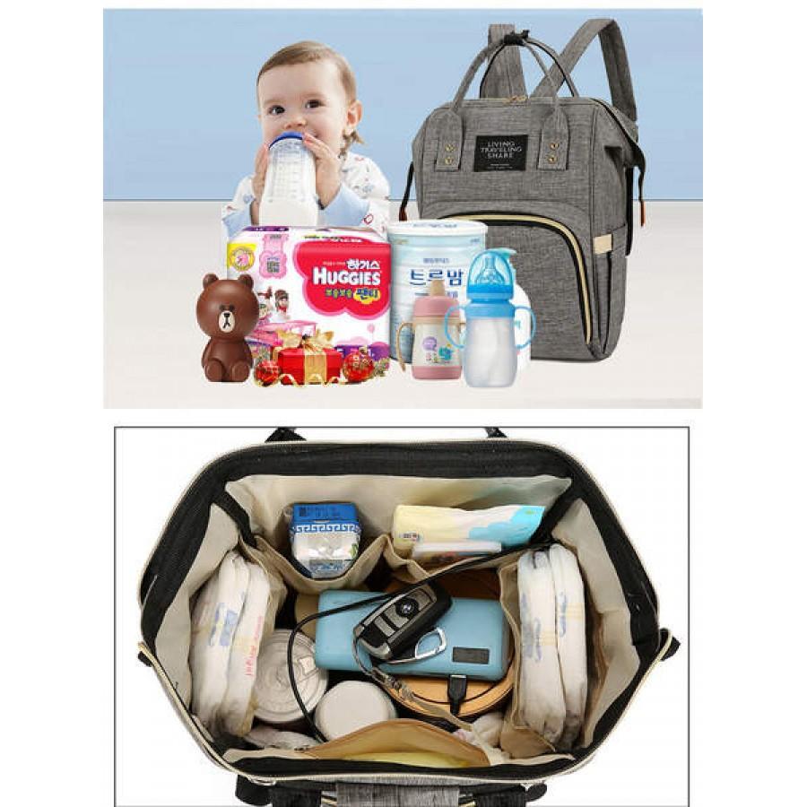 Τσάντα πλάτης μωρού γκρι με USB LTS
