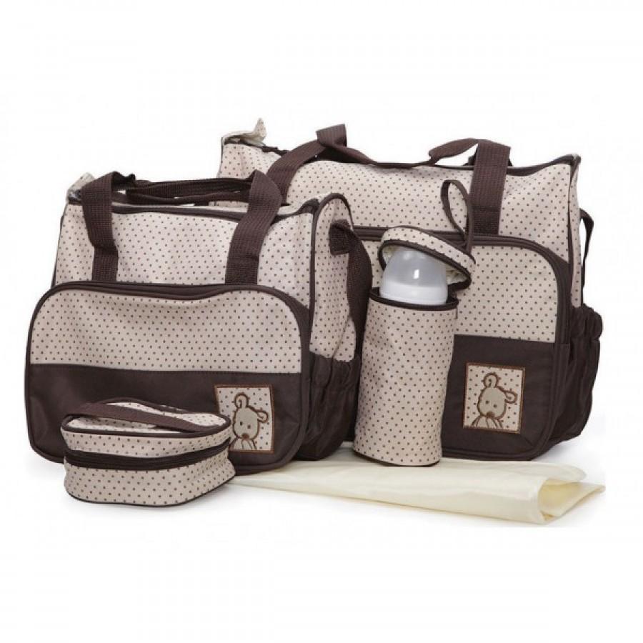 Σετ τσάντα μωρού καφέ-μπεζ