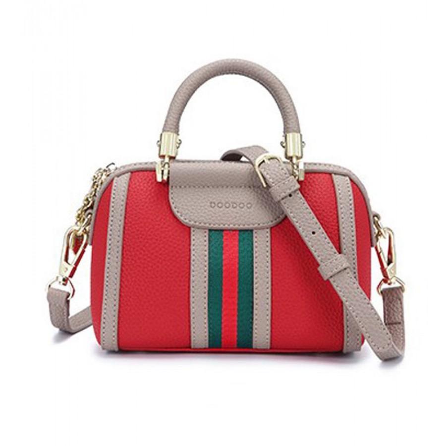 Τσάντα κόκκινο-μπεζ